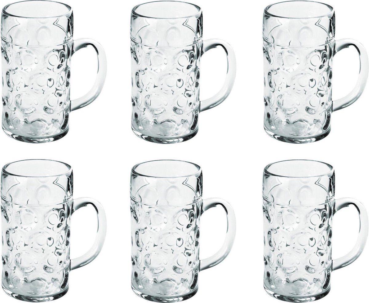 6x Bierpullen/bierglazen halve liter/50 cl/500 ml van onbreekbaar kunststof - 0,5 liter pullen - Bierfeest/Oktoberfest pul - Bierpul glazen – herbrui