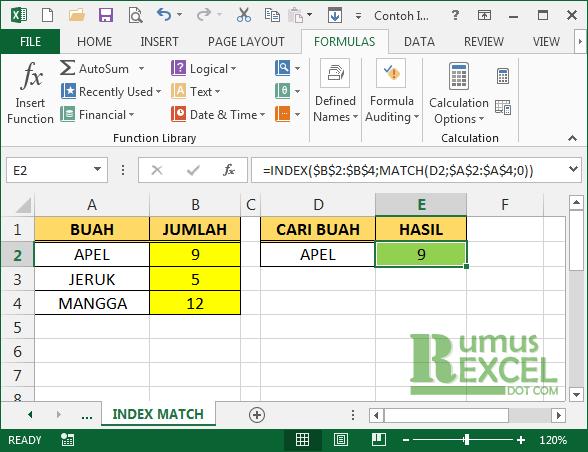 Cara Menggunakan Fungsi Index Dan Match Di Excel Belajar