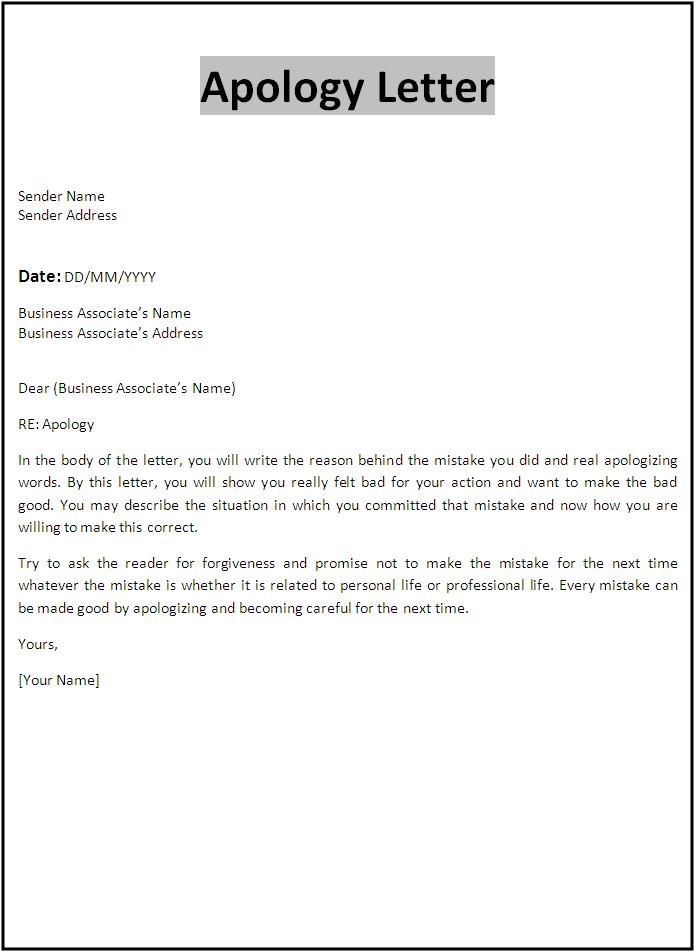 Professional Apology Letter Free sample letters of apology for – Example Apology Letter
