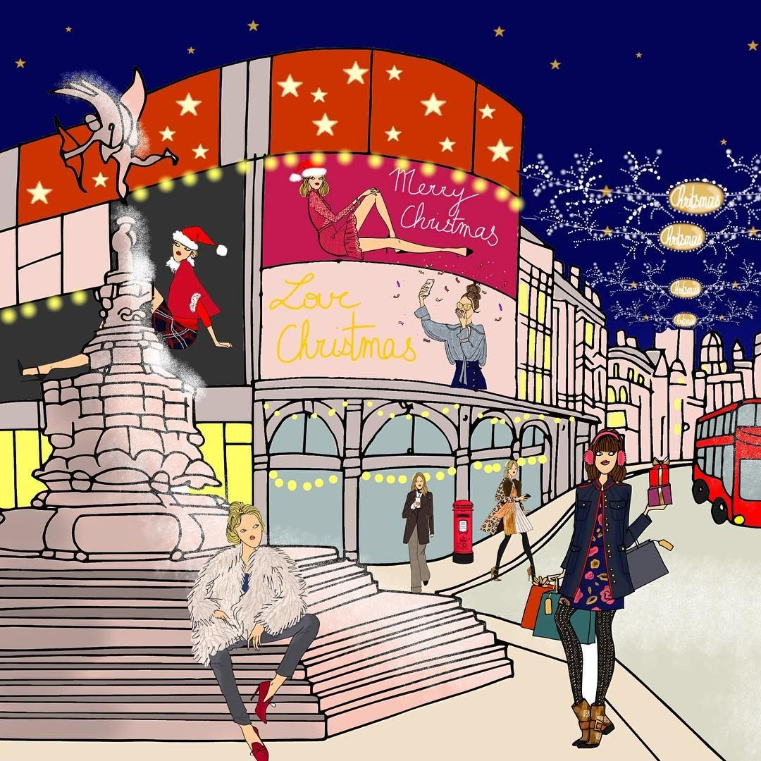 Piccadilly circus crée pour @doitin_london  #angelinemelin#angelinemelinxdoitinparis#drawing#london#piccadillycircus