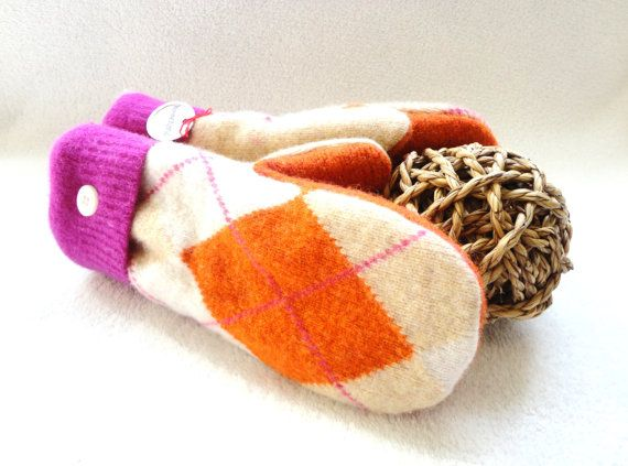 Felted Wool Mittens PINK & ORANGE ARGYLE Upcycled Sweater Mittens Fleece Lined Wool Mitts by WormeWoole by WormeWoole on Etsy