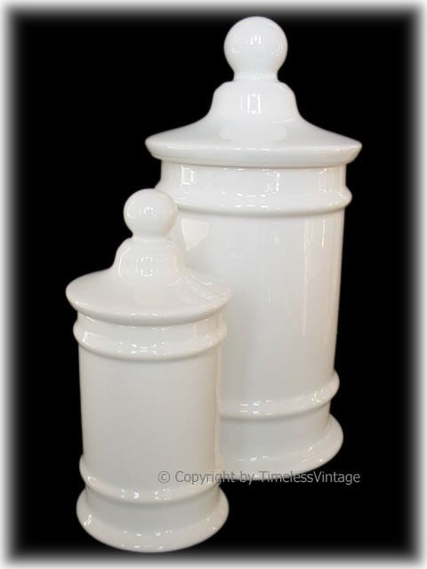 Pair French White Porcelain Apothecary Jars-Finials JL4ND222 Main Image