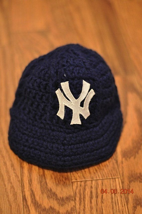 eba6d0a36 NY Yankees Newborn Crochet Baseball Cap - Photographer Prop in 2019 ...