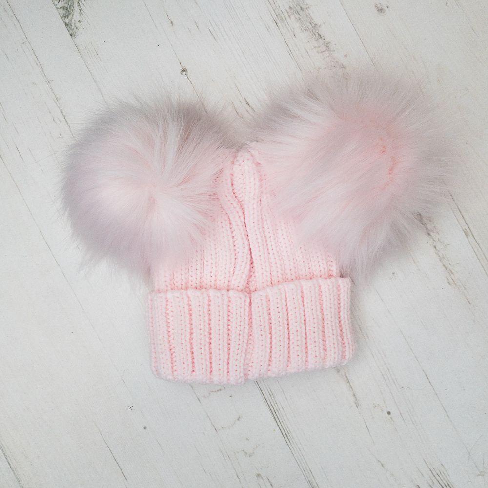 Toddler Junior Kids Infant Boys Girls Junior Beanie DOUBLE Bobble Pom Pom Hat