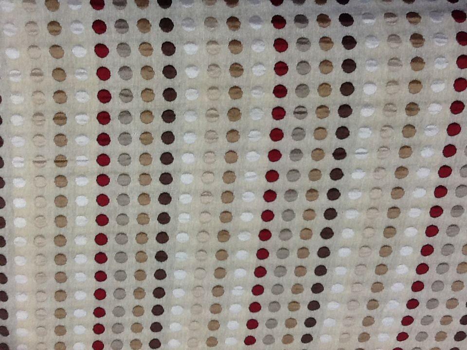 Tissus velours fond beige à pois gris taupe et rouge en 150cm de large : Tissus…