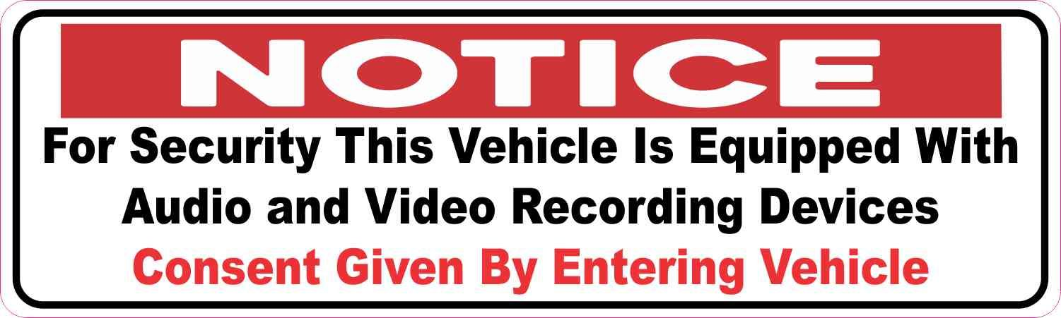 10in x 3in Audio and Video Recording Consent Sticker