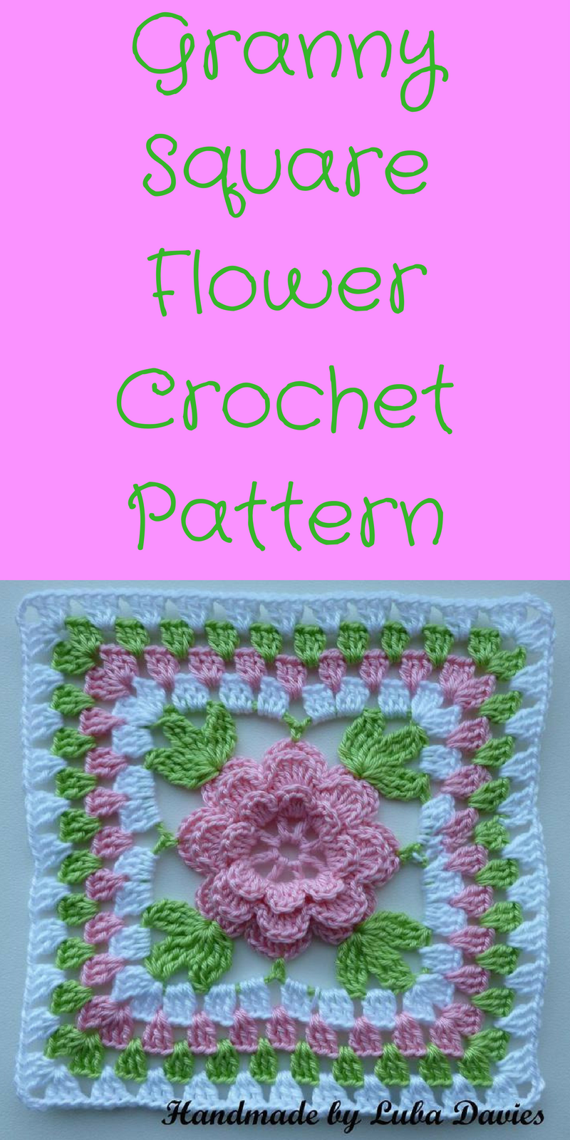 Flower In Granny Square Motif Ad Crochet Pattern Flower