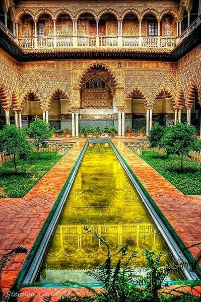 Fantasy of Architecture -Courtyard in the Alcazar, Seville - Spain