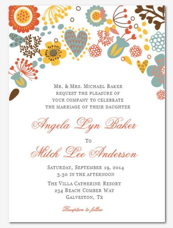DIY Printable MS Word Wedding Invitation Template W066 by Inkpower