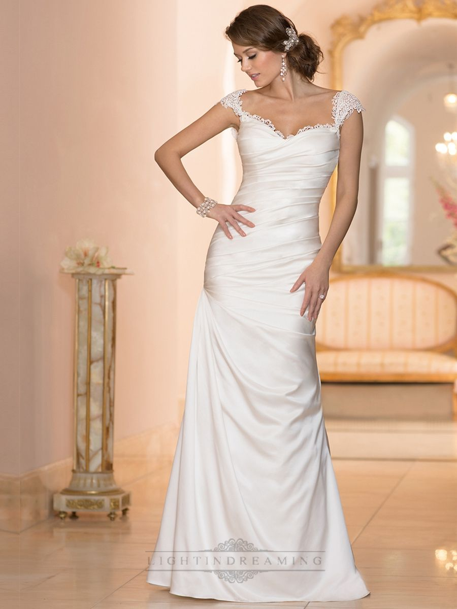 High Quarlity Classic Illusion Cap Sleeves Sweetheart Ruched Bodice Wedding Dresses Online Wedding Dress Wedding Dresses Bodice Wedding Dress