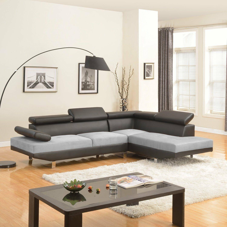 Modern Contemporary Design 2 Tone Microfiber Bonded Leather Sectional Sofa Black Micr Modern Sofa Designs Contemporary Sectional Sofa Leather Sectional Sofas