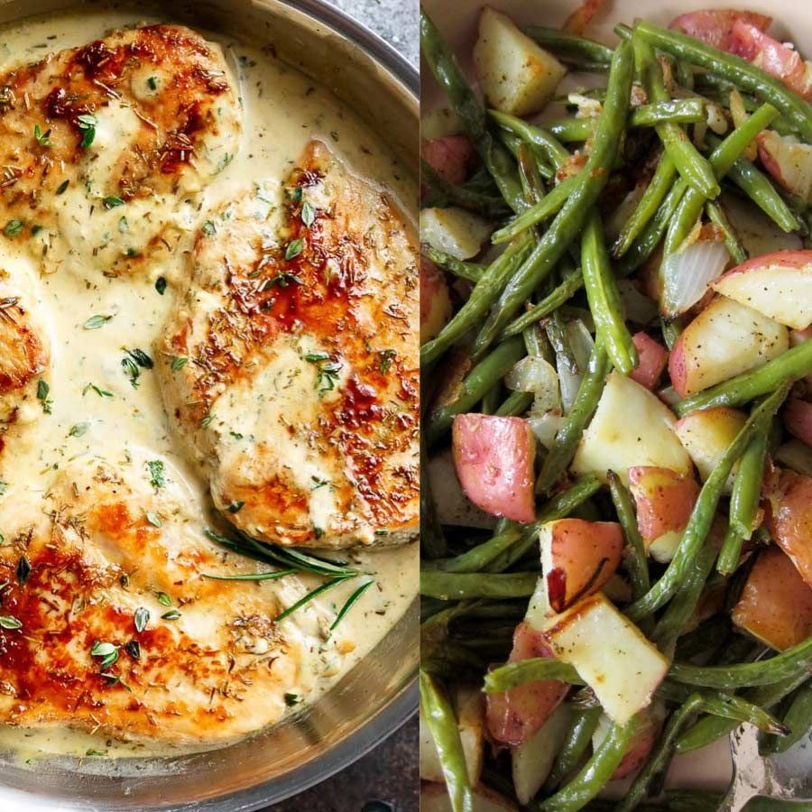 Quick Easy Creamy Herb Chicken W Oven Roasted Potatoes Green