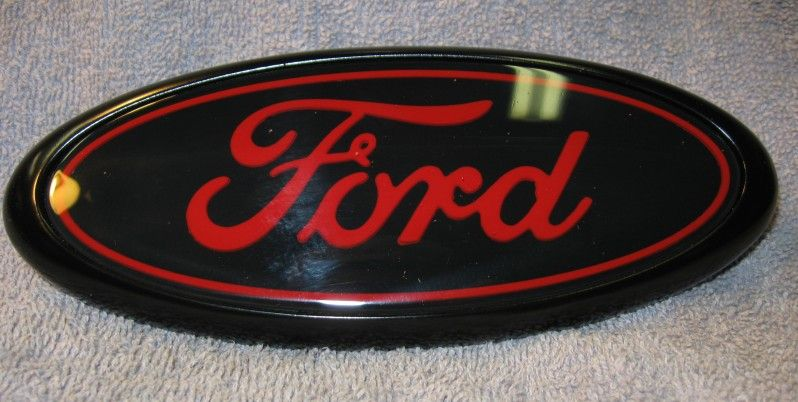 Ford 9 Front Grille or Back Tailgate Emblem Black /& Red Peel /& Stick