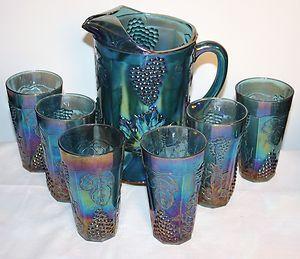 Indiana Blue Carnival Depression Glass Harvest Grape Pitcher / Beverage 7 pc Set