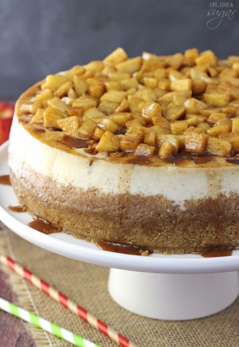 Apple Cinnamon Cheesecake - A cinnamon cheesecake layered with apples and cinnamon filling! Topped with even more apples and cinnamon! Absolutely to die for!