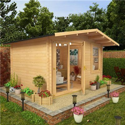 BillyOh Lodge Log Cabin 3.5m x 3.5m Modern Glazing | Garden | Pinterest