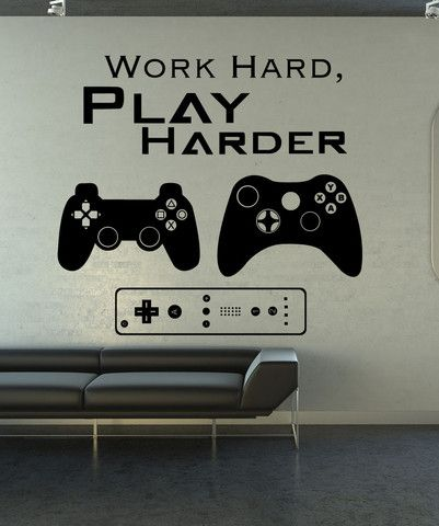 vinyl wall decal sticker work hard play harder #1323 | wall art