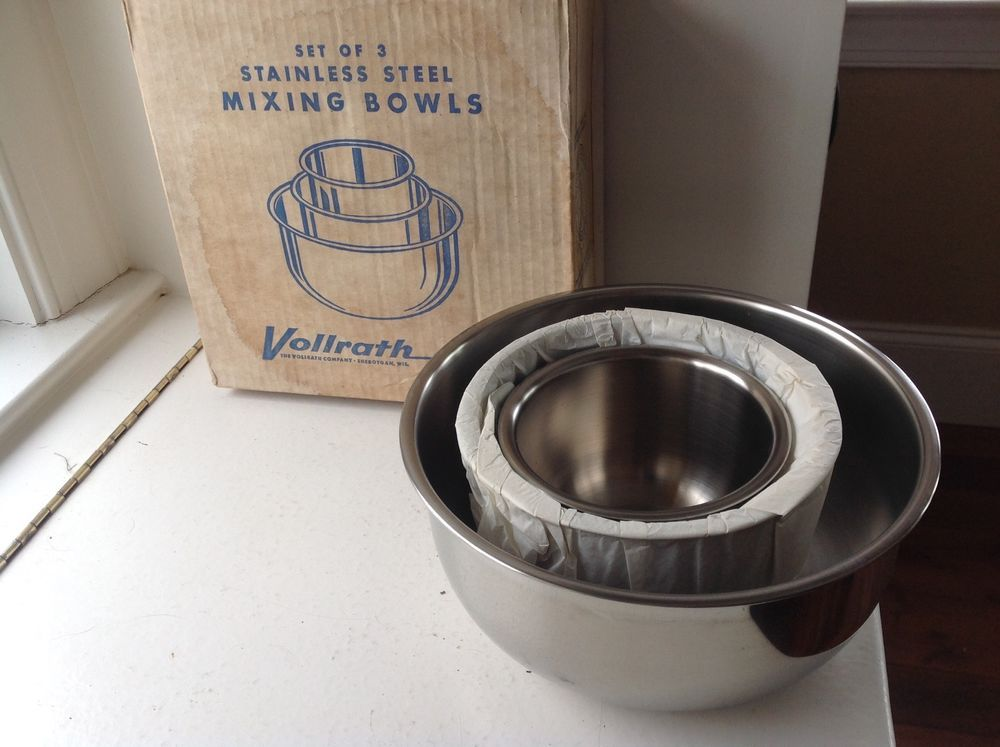 VINTAGE VOLLRATH STAINLESS STEEL BOWL SET OF 3 IN BOX   For sale ...