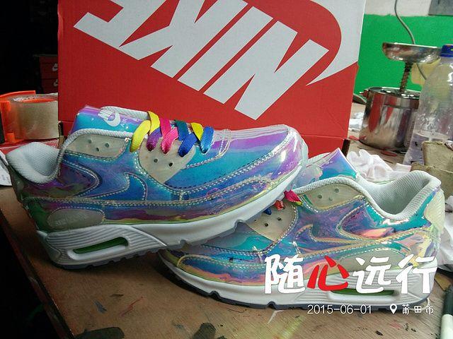 Incomparable comfort Shoes Unisex Nike Air Max 90 Premium Iridescent White  Rainbow