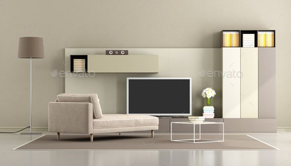 Modern Living Room With Tv Unit Modern Living Room Living Room Empty Living Room Red