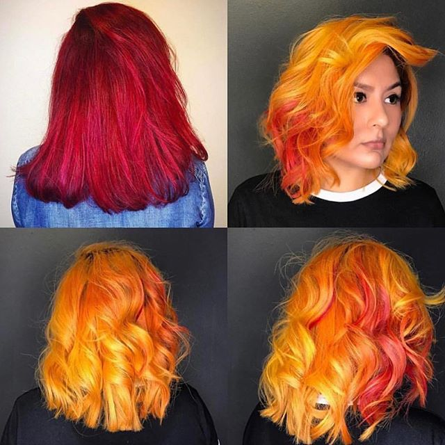 Fire red hair to sunrise colors by hairbyjoya