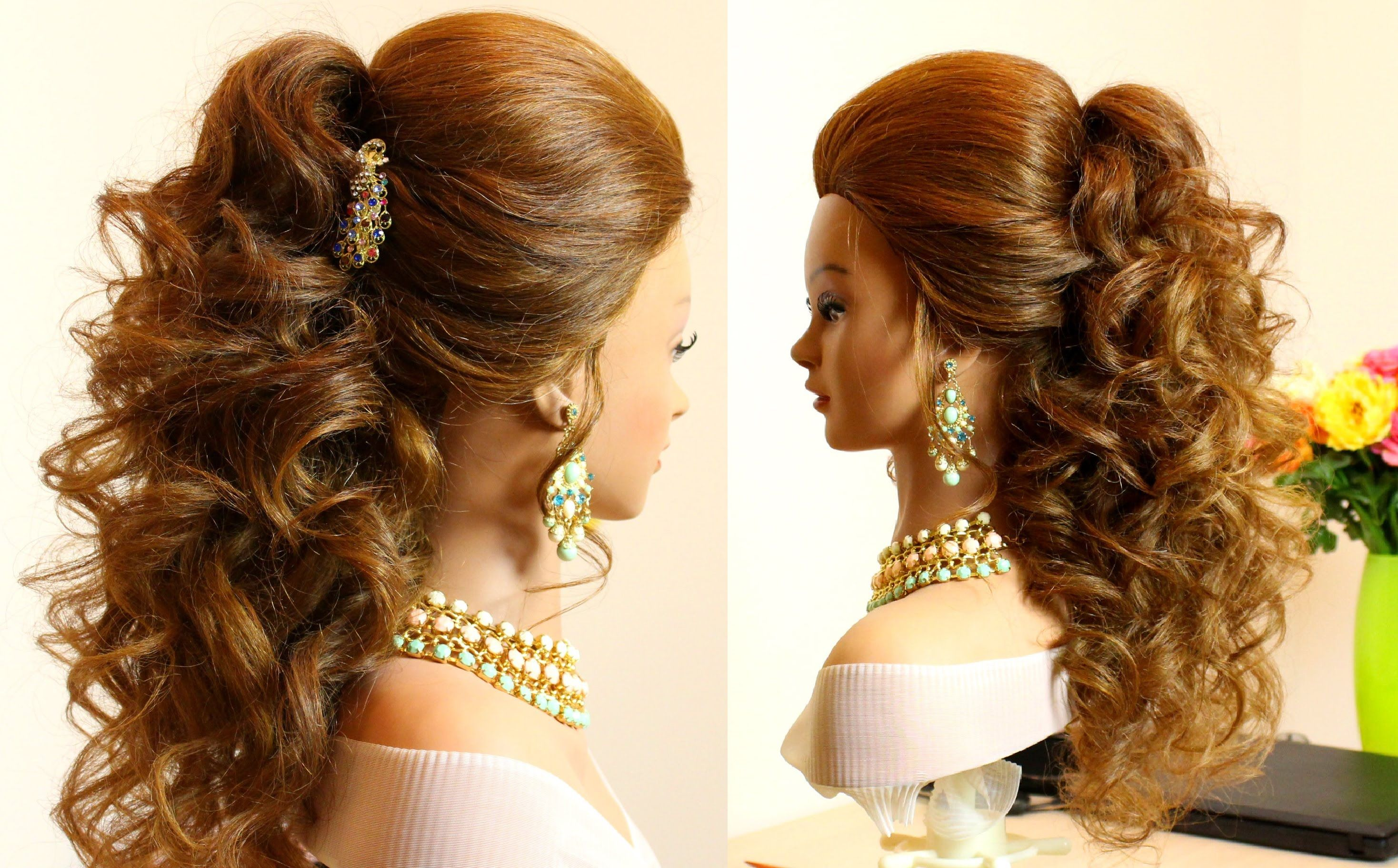 prom bridal curly hairstyle for long hair tutorial | hair