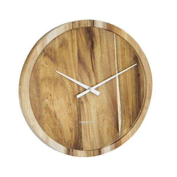 "London Clock Company ""Pure"" Solid Acacia Wood Wall Clock 35cm"
