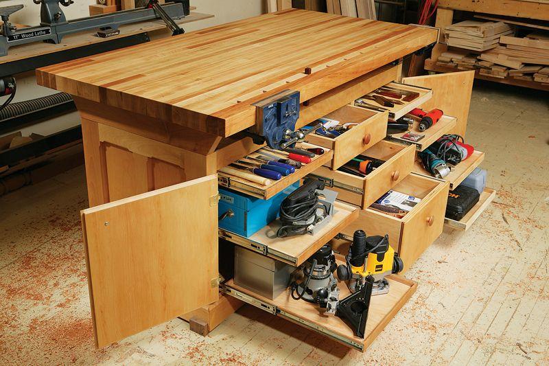 Build A Dream Work Bench Woodworking Bench Plans Garage Work