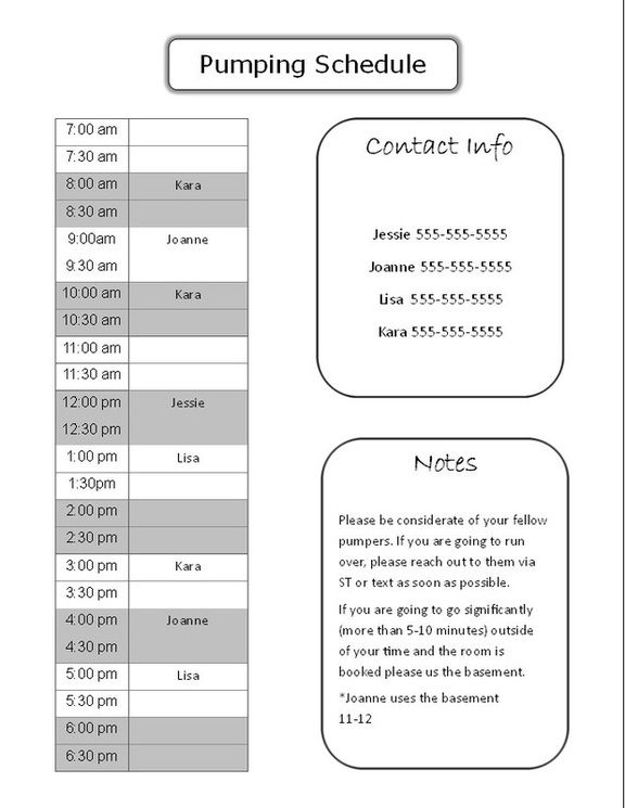 Printable pumping schedule- working momu0027s life easier, back to - work schedule