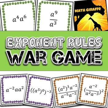 Basic Exponent Rules - War Game (one variable) math education