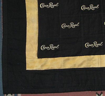 Crown royal bag quilt made from more than 180 black bags with gold ...