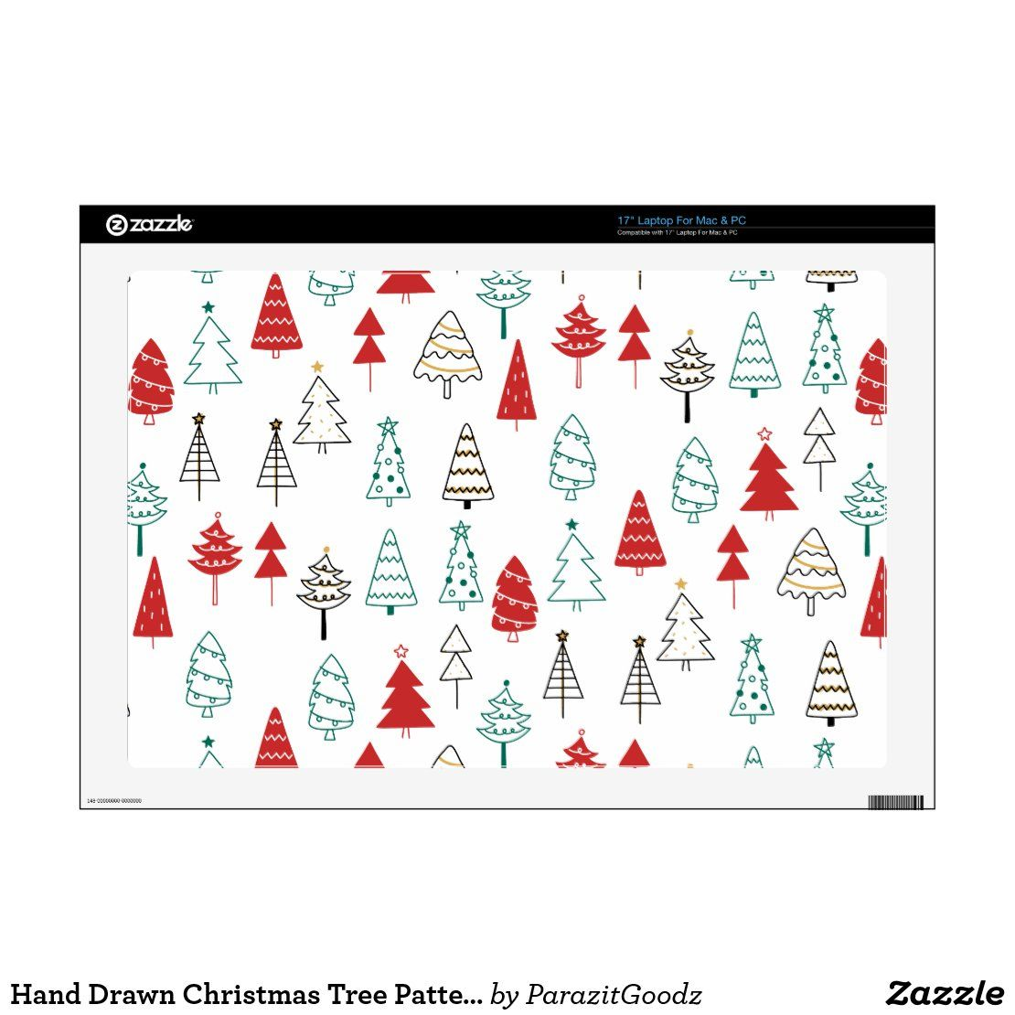 Hand Drawn Christmas Tree Pattern 17 Laptop Decal Zazzle Com Laptop Decal Christmas Tree Pattern Pc Skin