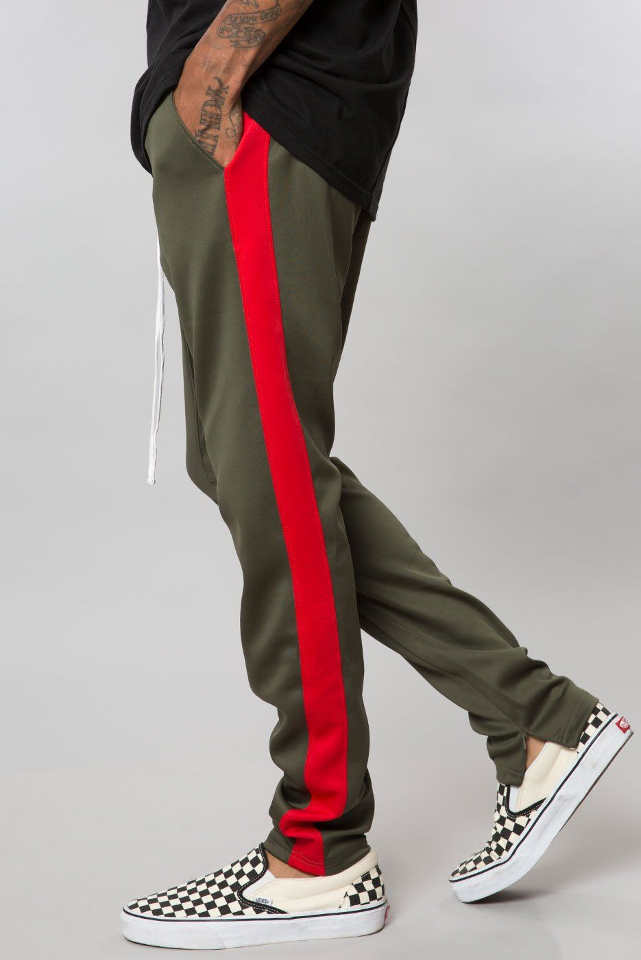 Olive Red Drop Crotch Track Pant Streetwear Outfit Shirt Design Inspiration Elwood Clothing