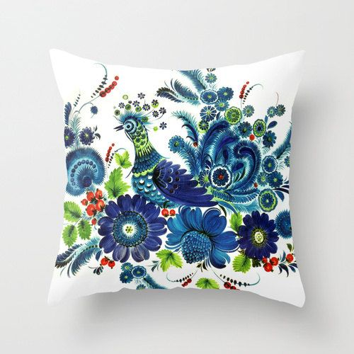 Blue Peacock Screenprint Unique Throw Pillow Cover. by cyamonday, $32.00