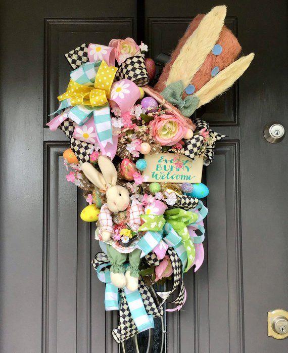 Easter Swag Spring Decor Bunny Wreath Spring Swag Front Door