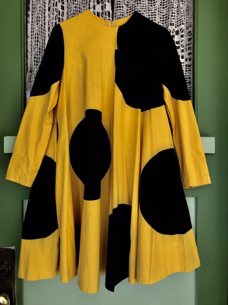 e86558d02fd3 Vintage Outfits · Bee · Silk Screen Printing · Vtg RARE Amazing VUOKKO  Marimekko Trapeze 'Bumble Bee' Dress!!!   eBay