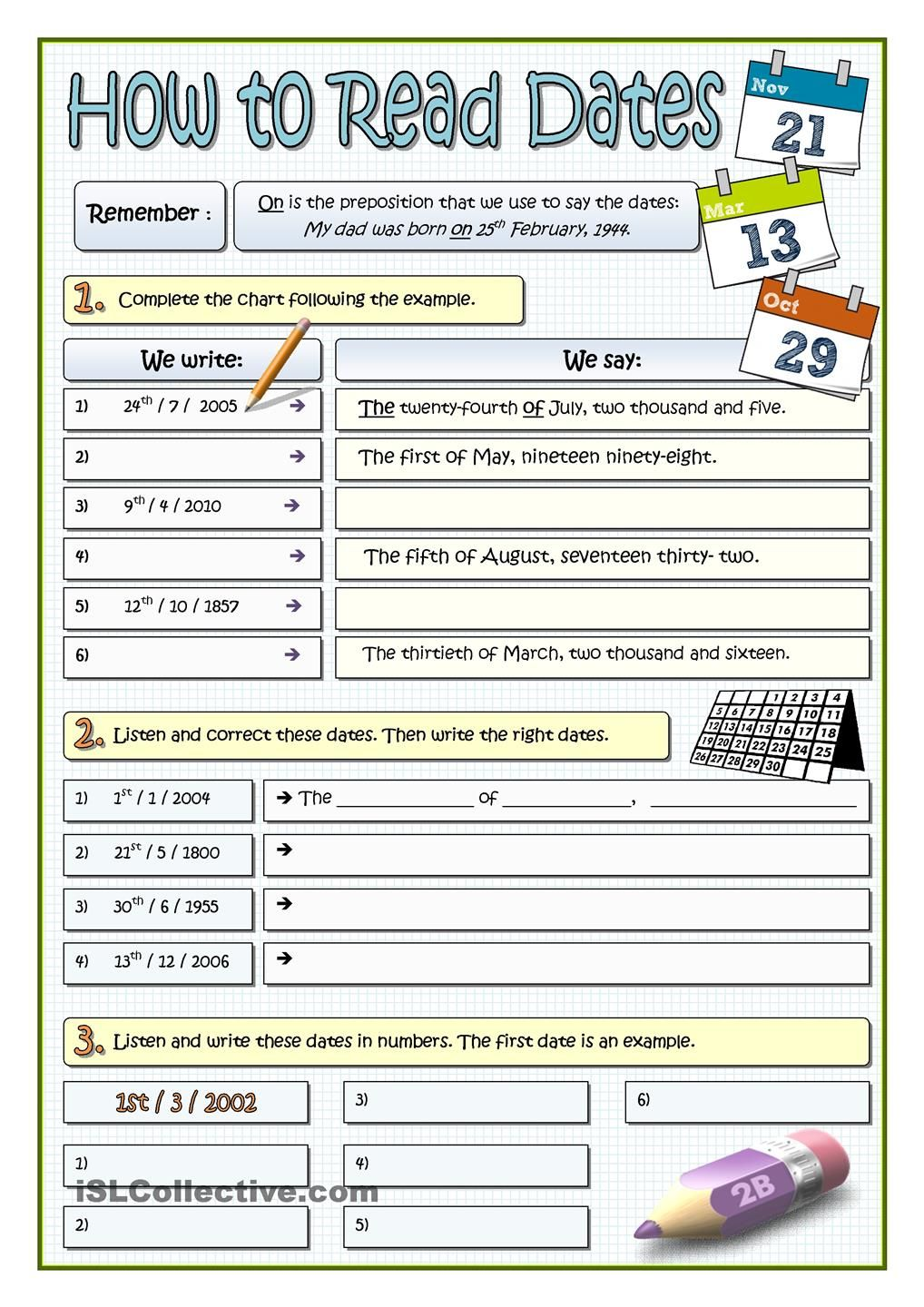 HOW TO READ DATES | English worksheets | Pinterest | Englisch ...