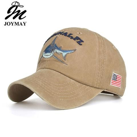 4486880fb Joymay 2018 Cotton Washed Vintage Fitted Baseball Cap Original Shark  Embroidery Snapback gorras casual casquette B546