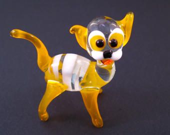Yellow Glass Cat Miniature Glass Cats Collectible Cat Figurine Homedecor