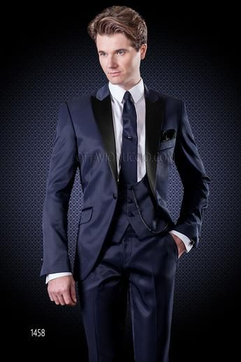 Blue Wedding Suit With Matched Waistcoat