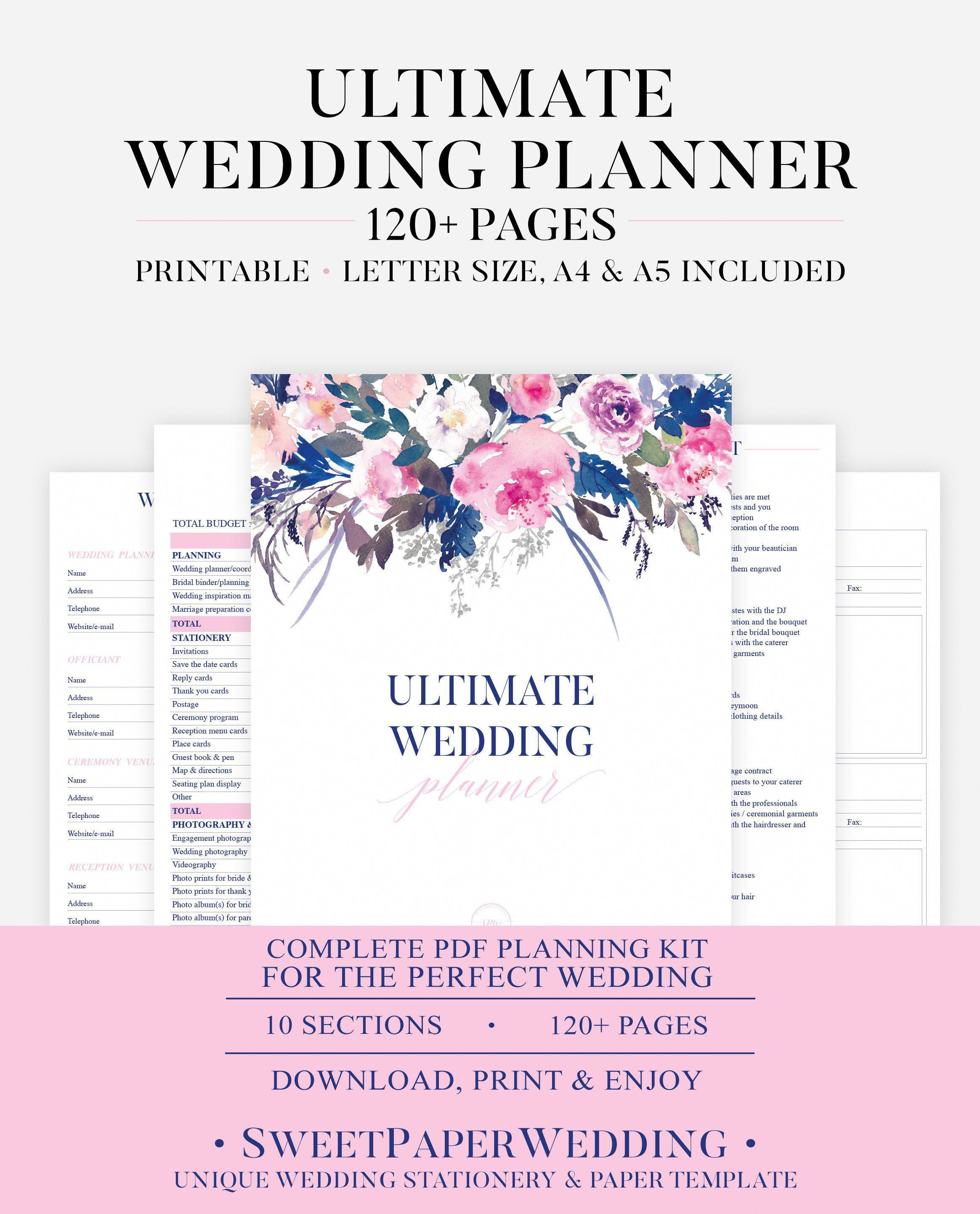 printable wedding planner pink wedding organizer diy printable