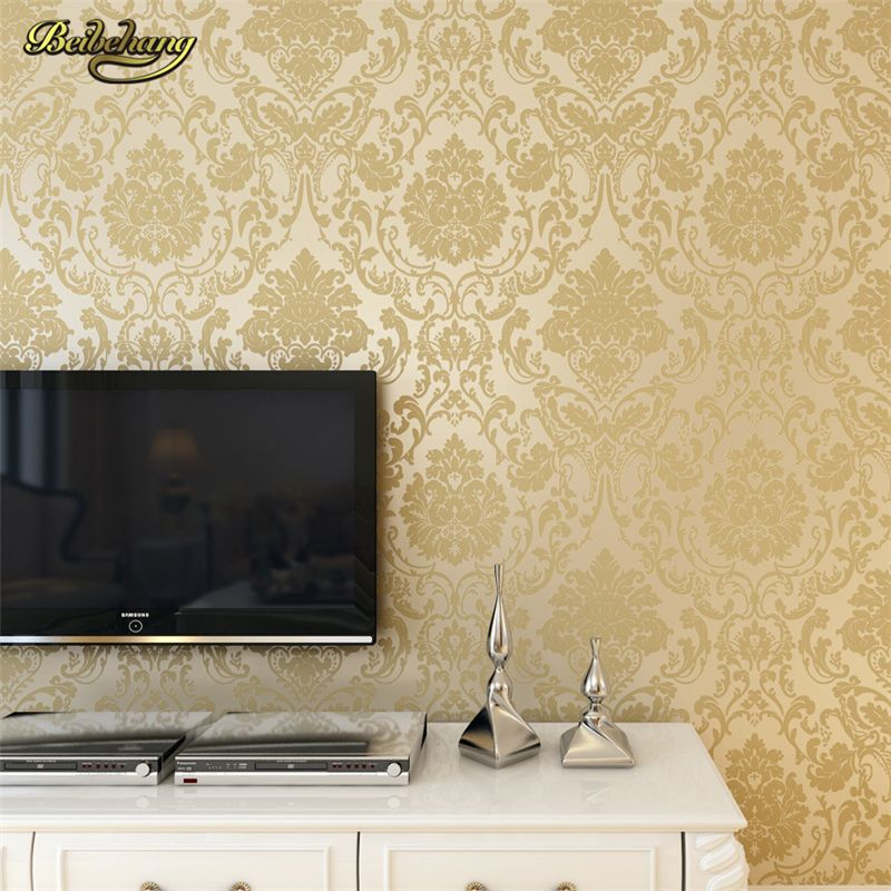 beibehang French Modern Damask Feature Wallpaper Roll For Living ...