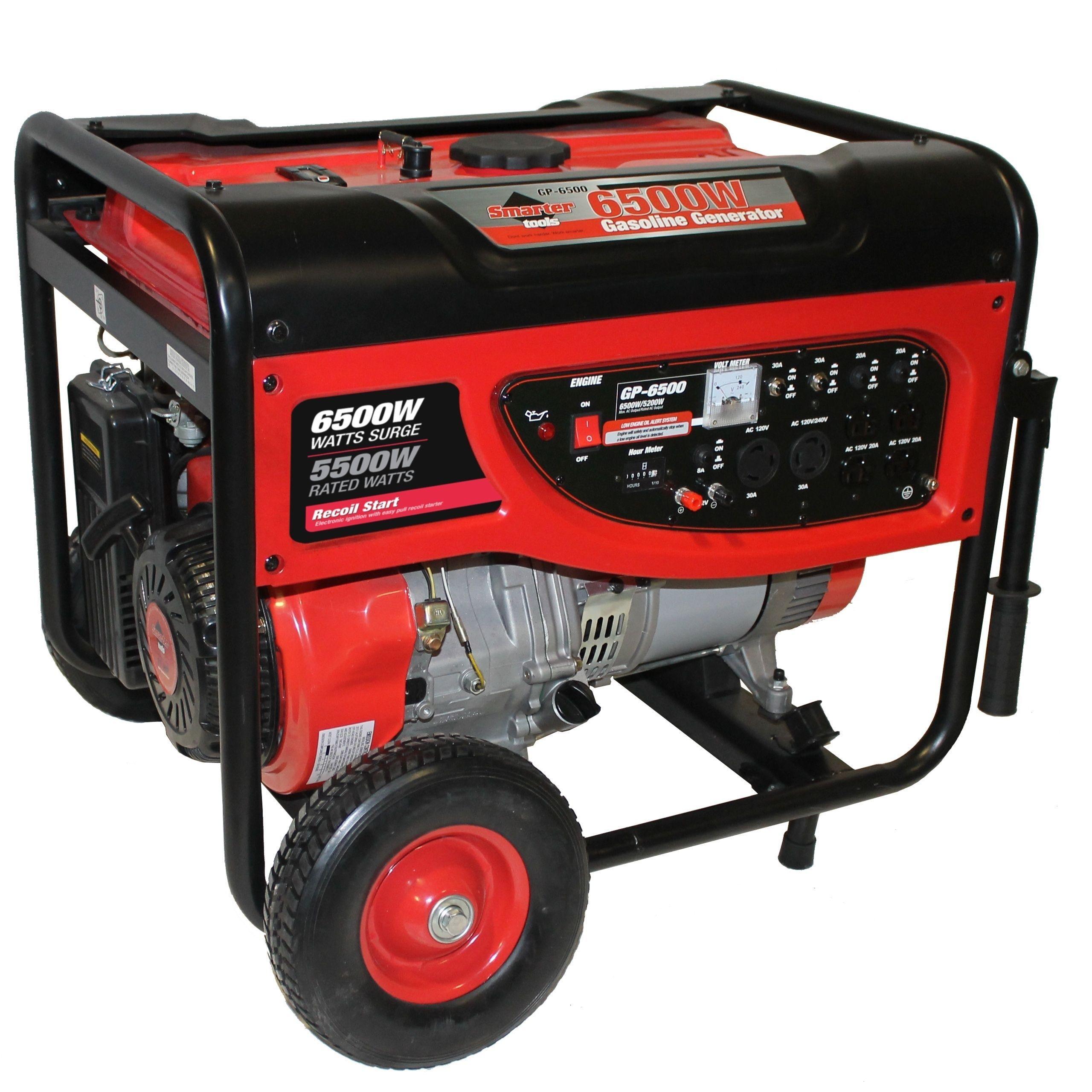 Smarter Tools 6500 watt Portable Gas Generator with No Flat Wheels