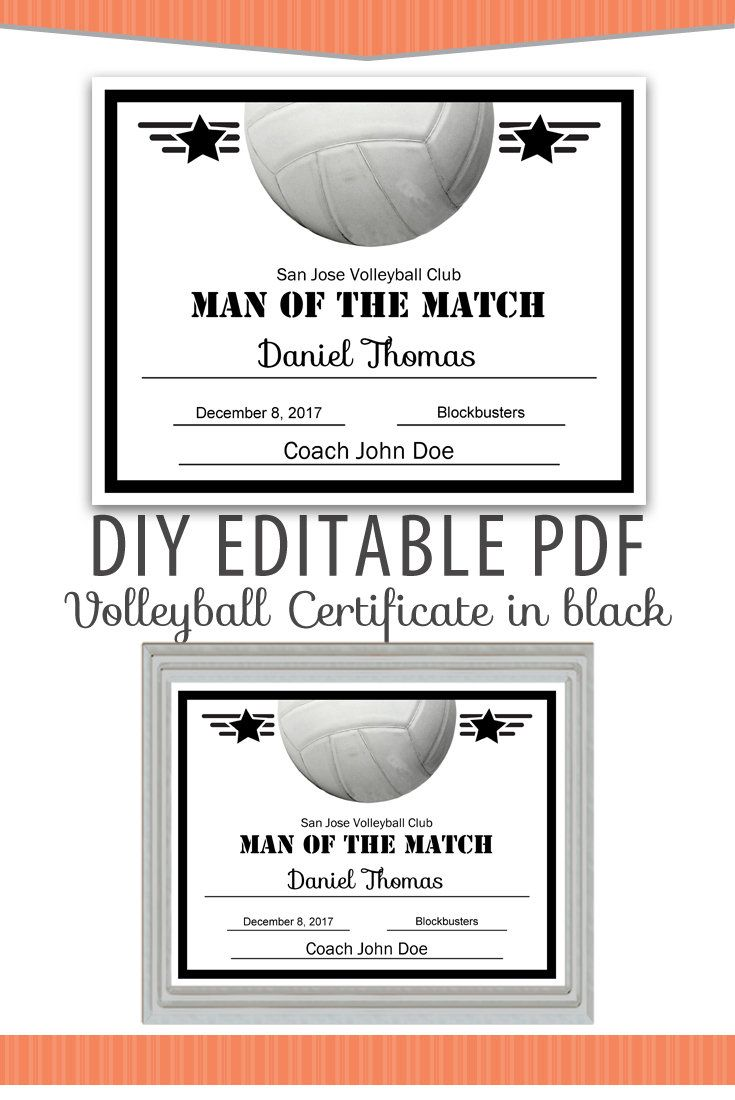 Editable Pdf Sports Team Volleyball Certificate Diy Award Template