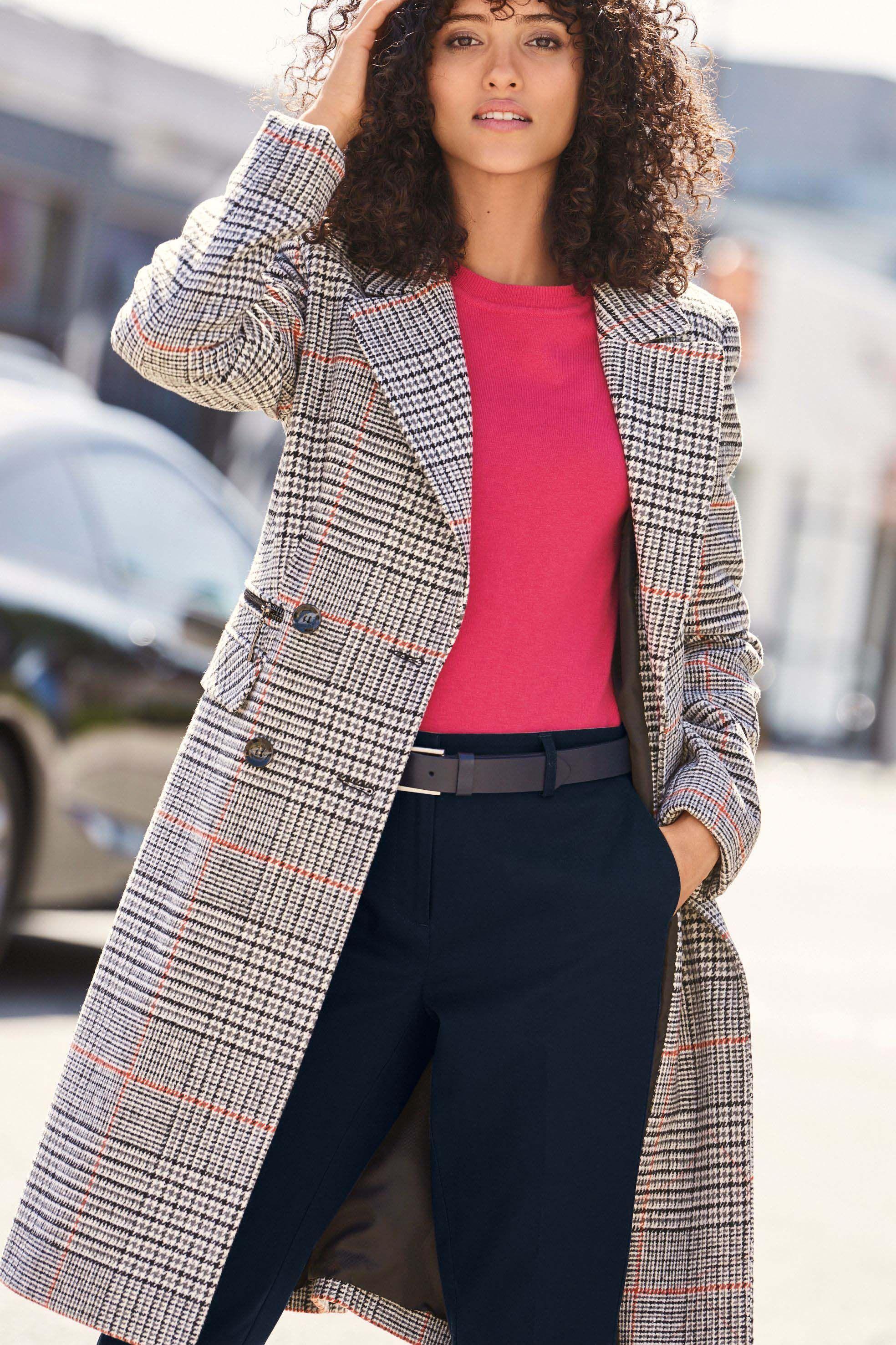 Womens Next Check Revere Coat Grey | Coat women fashion