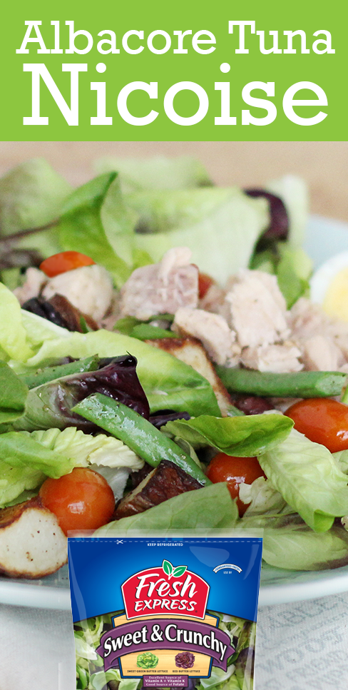 The colorful Nicoise salad is a protein-packed meal with tuna, eggs, and a variety of veggies like potatoes, tomatoes, and green beans.