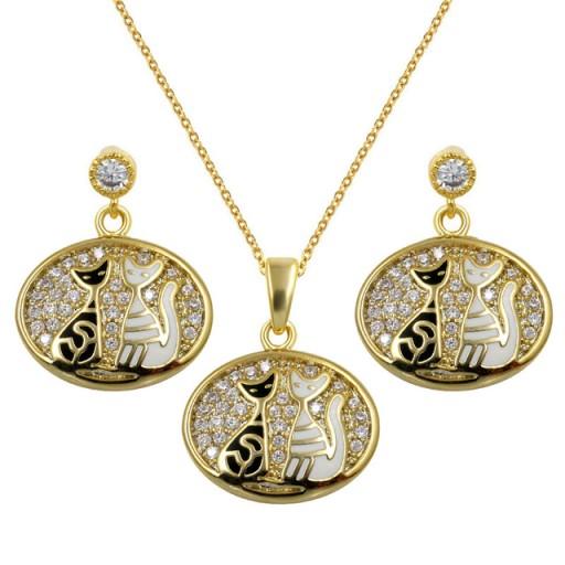 Lux Komplet Bizuterii Koty Kolczyki Naszyjnik 7335007292 Oficjalne Archiwum Allegro Necklace Jewelry Gold Necklace