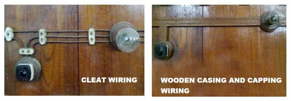The types of internal wiring usually employed are Cleat