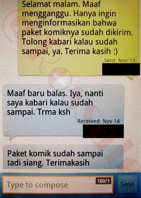 SMS konfirmasi pengiriman sekaligus penerimaan barang ke tangan pembeli.
