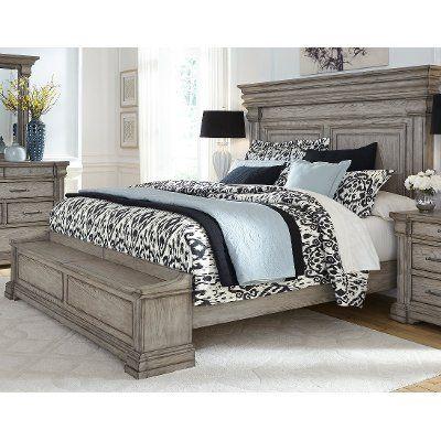 Traditional Gray 4 Piece California King Bedroom Set Madison Ridge King Storage Bed King Bedroom Sets California King Bedroom Sets